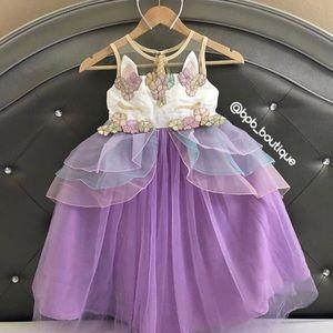 NWT Girls Purple Unicorn Dress & Headband Set